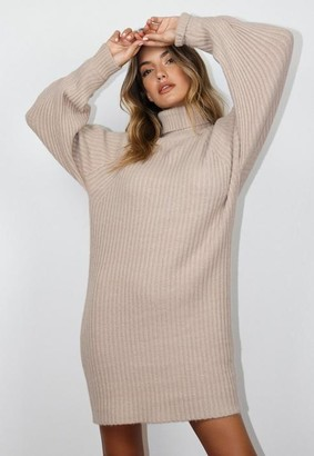 Missguided Stone Turtle Neck Tuck Sleeve Knit Dress