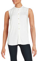 Calvin Klein Pleated Button-Front Shirt