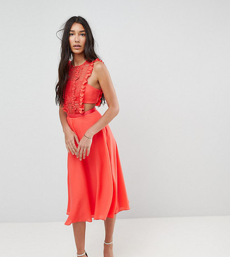 Asos Tall TALL Lace Pinafore Pleated Midi Dress-Red