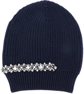 No.21 crystal embellished ribbed beanie - women - Silk/Wool/metal/glass - One Size