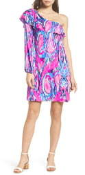 Lilly Pulitzer Amante One-Shoulder Silk Dress