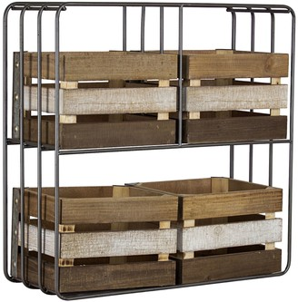 American Art Gallery Wood Shelf Organizer with 4 Storage Bins