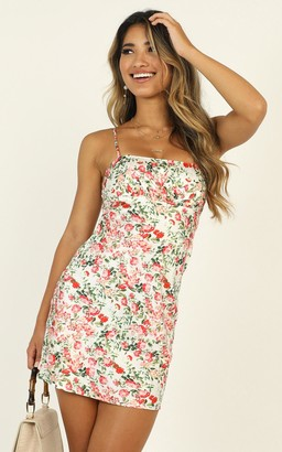 Showpo Bold Moves satin dress in multi floral - 6 (XS) Dresses