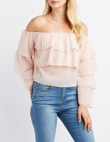 Charlotte Russe Tiered Ruffle Off-The-Shoulder Top