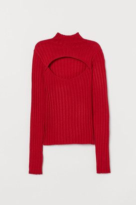 H&M Ribbed Turtleneck Top - Red