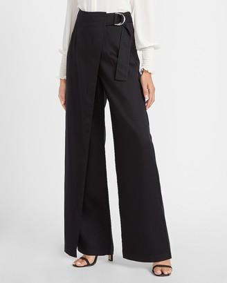 Express High Waisted Asymmetrical Belted Wide Leg Pant