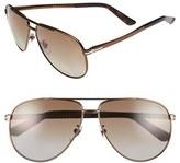 Gucci Men's 61Mm Polarized Aviator Sunglasses - Matte Black/ Grey