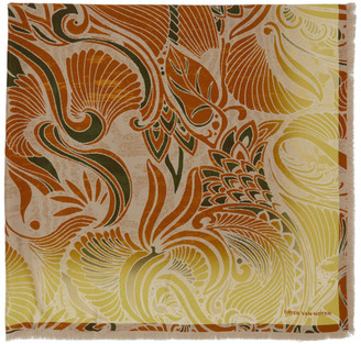 Dries Van Noten Yellow Silk Floral Scarf