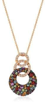 LeVian Le Vian Mixberry Gems Grape Amethyst, Cinnamon Citrine, Pomegranate Garnet, Green Apple Peridot, Sky Blue Topaz, Vanilla Topaz and 14k Strawberry Gold Pendant Necklace
