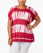 Style and Co Plus Size Tie-Dyed Stripe Flutter-Sleeve Top, Created for Macy's