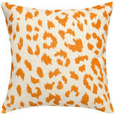 123 Creations Cheetah Printed Linen Pillow With Feather-Down Insert, Orange