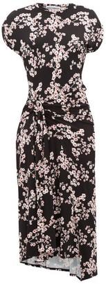 Paco Rabanne Floral-print Jersey Wrap Dress - Black Multi