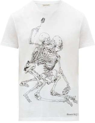 Alexander McQueen Skeleton Lovers Logo-print Cotton-jersey T-shirt - White Multi