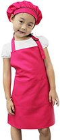 Bluelans Kids Aprons with Pockets, Artist Apron, Chef Apron, for Cooking, Baking, Painting and Crafting (Hot Pink)