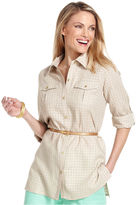 Charter Club Shirt, Long-Sleeve Belted Tunic