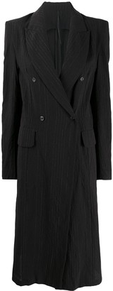 Masnada Striped Back Tie Double-Breasted Coat