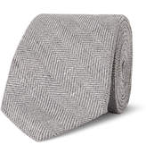 Brunello Cucinelli 7cm Slub Herringbone Linen, Virgin Wool and Silk-Blend Tie