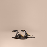 Burberry Equestrian Detail Leather Sandals