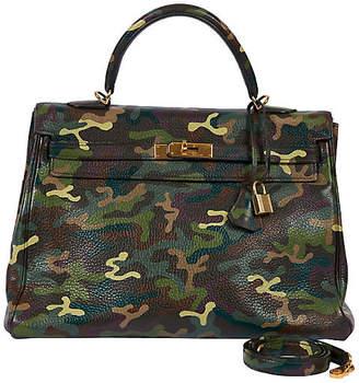 One Kings Lane Vintage Hermes Olive Green Camouflage 35cm Kelly - Vintage Lux