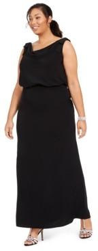 Adrianna Papell Plus Size Blouson Cowl-Neck Gown