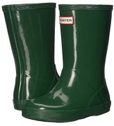 Hunter Kids First Original Gloss Rain Boots (Toddler Green) Kids Shoes