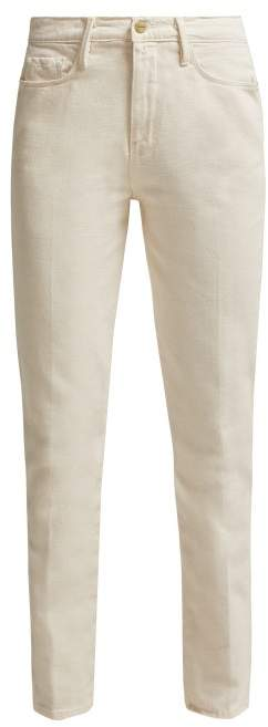Frame Le Slender High Rise Straight Leg Jeans - Womens - Cream
