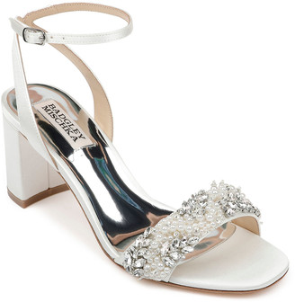 Badgley Mischka Clara Embellished Satin Cocktail Sandals