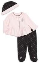 Little Me Infant Girl's Ballet Dot Cardigan, Pants & Hat Set
