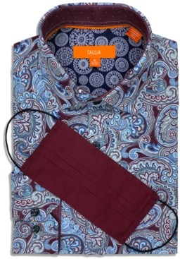 Tallia Men's Slim-Fit 4-Way Performance Stretch Paisley-Print Dress Shirt with Pleated Face Mask