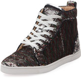 Christian Louboutin Bip Bip Sequined Red Sole High-Top Sneaker