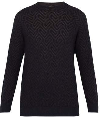 Giorgio Armani Jacquard Crew Neck Sweater - Mens - Navy