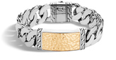 John Hardy Men's Chain 16.5MM ID Bracelet, Sterling Silver, Hammered 18K Gold