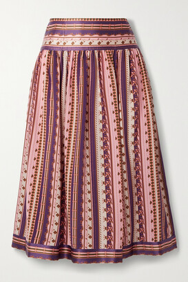 TORY BURCH - Satin-trimmed Pleated Printed Silk Crepe De Chine Midi Skirt - Pink
