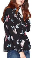 Miss Selfridge Dark Floral Long Sleeve Peplum Blouse
