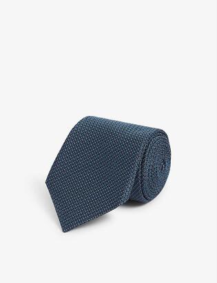Corneliani Square and mini-dot print silk tie