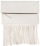 Clare Vivier Fringe Fold-Over Clutch Bag, Cream