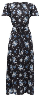 The Vampire's Wife The Scoop Floral-print Silk-satin Dress - Black Blue