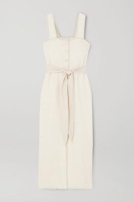Nanushka Rita Vegan Leather-trimmed Frayed Cotton-blend Midi Dress - White