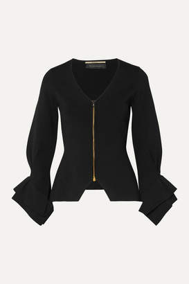 Roland Mouret Draped Stretch-knit Jacket - Black