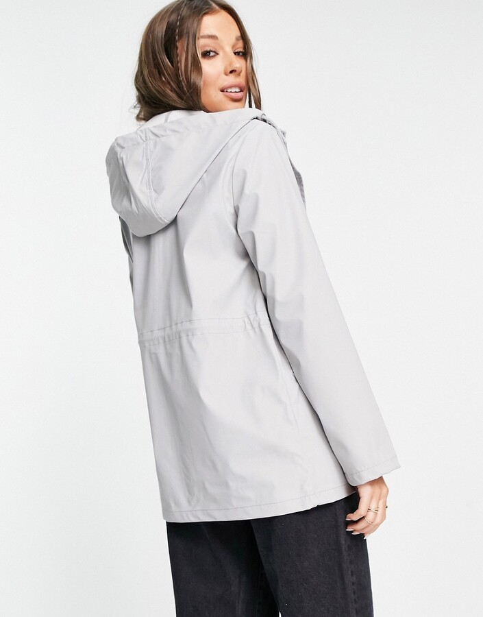 Thumbnail for your product : Brave Soul Saffy hooded rain mac in grey