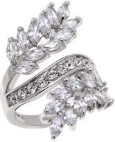 "Joan Boyce Regina's ""I Am Beautiful"" CZ and Crystal Leaf-Design Bypass Ring"