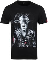 Replay Goat Black Printed Crew Neck T-shirt