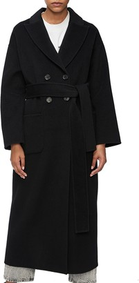 Anine Bing Ruth Removable Faux Fur Collar Wool & Cashmere Coat
