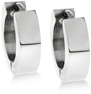 Sutton by Rhona Sutton Men's Stainless Steel Huggie Small Hoop Earrings s