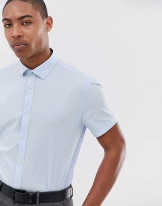 Celio slim fit smart short sleeve shirt in blue