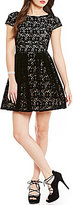 B. Darlin Cap-Sleeve Velvet Lace Skater Dress