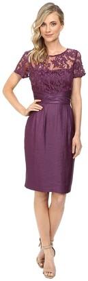 Adrianna Papell Women's Pleated Origami Bow Waist Sheath Dress