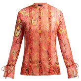 Etro Bahidora Lace-panelled Silk Blouse - Womens - Red Print