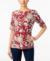 Karen Scott Printed Boat-Neck Top, Only at Macy's