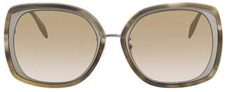 Alexander McQueen Sculpted Metal Frame Square Sunglasses